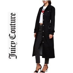 NWT JUICY COUTURE Black Duster Trench Coat Jacket